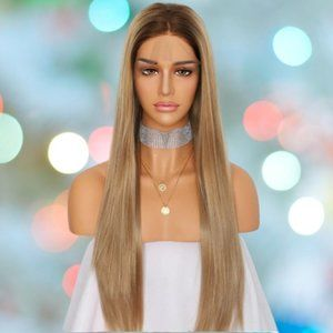 👉BOGO Synthetic Lace Front Wig Long Dark Blonde